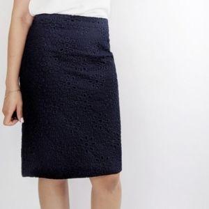 J. Crew The Pencil Skirt Blue Eyelet Career Skirt